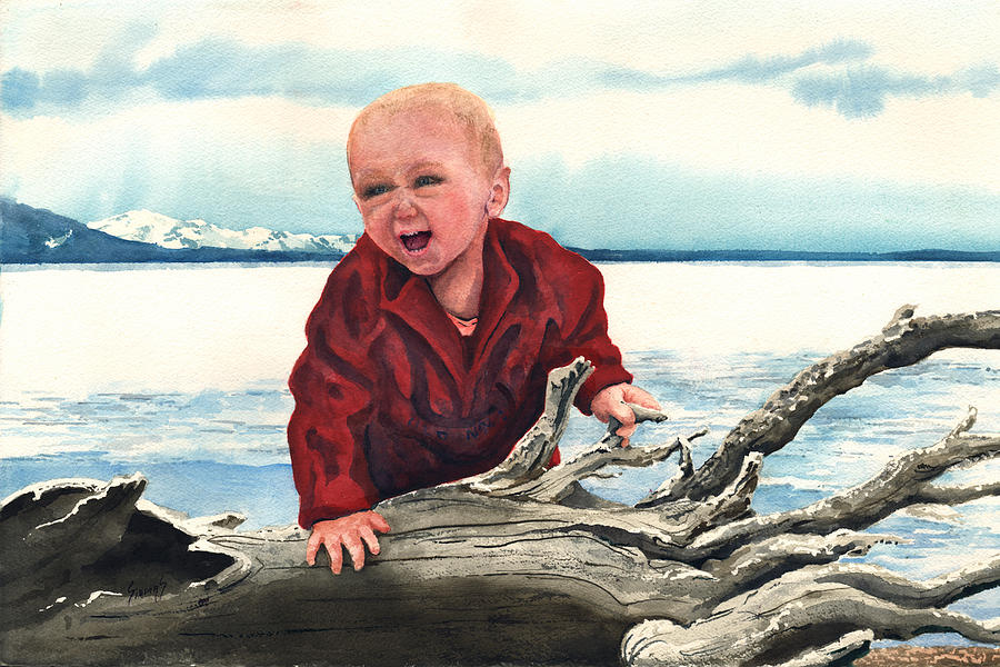 Child Painting - Sam And The Log by Sam Sidders