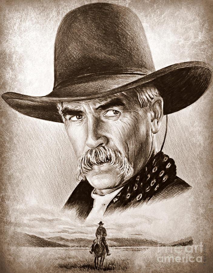 Sam Elliot Drawing - Sam Elliot The Lone Rider by Andrew Read