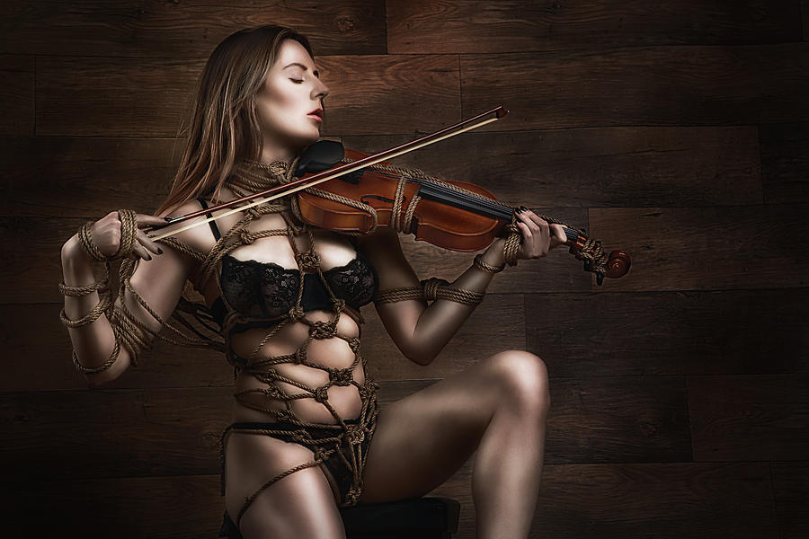 Violin Photograph - Samantha Bentley/badbentley, Violin - Fine Art Of Bondage by Rod Meier