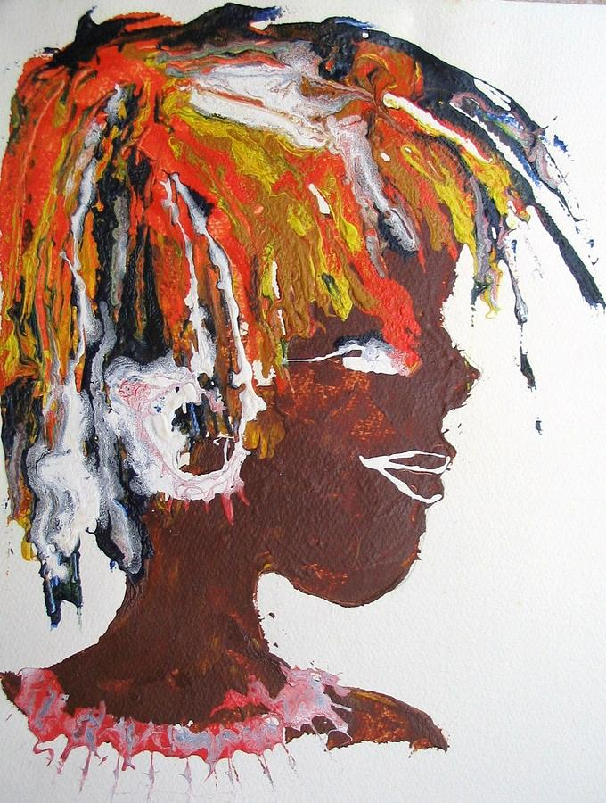 Tribal Painting - Samburu Girl by June OConnell