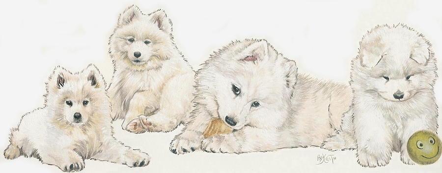 Samoyed Puppies Mixed Media By Barbara Keith