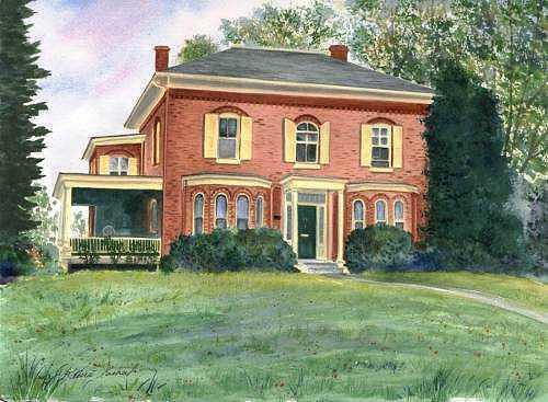 House Portraits Painting - Sample House Portrait by Laura Tasheiko