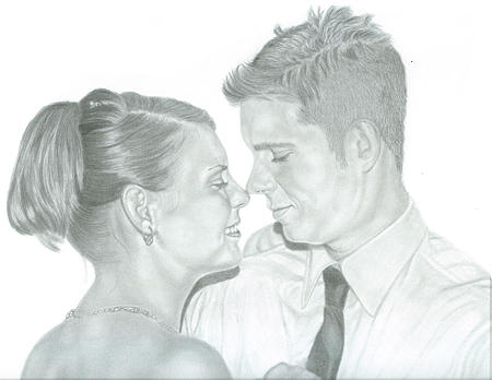 Graphite Drawing - Sample Of Graphite Portrait Commission by Tracey Costescu