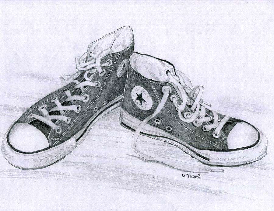 ffbe0f8a06f1 Converse Drawing - Sams Shoes by Mary Tuomi