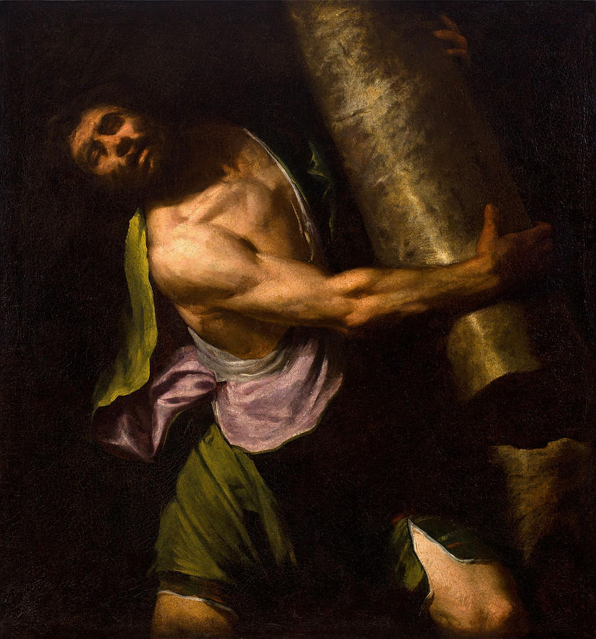 Samson In The Temple Painting by Luciano Borzone