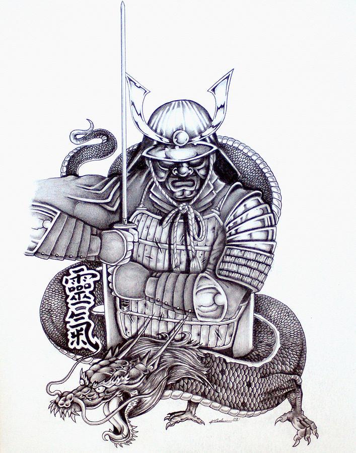 Samurai Tattoo Design 1 Drawing By Kyle Adamache