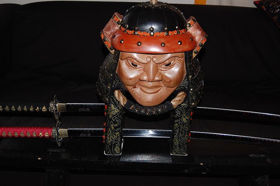 Wood Carving Sculpture - Samurai Warrior by Owen Lohrenz