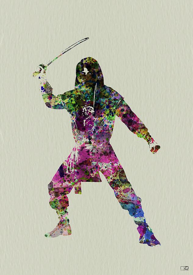 Ninja Painting - Samurai With A Sword by Naxart Studio
