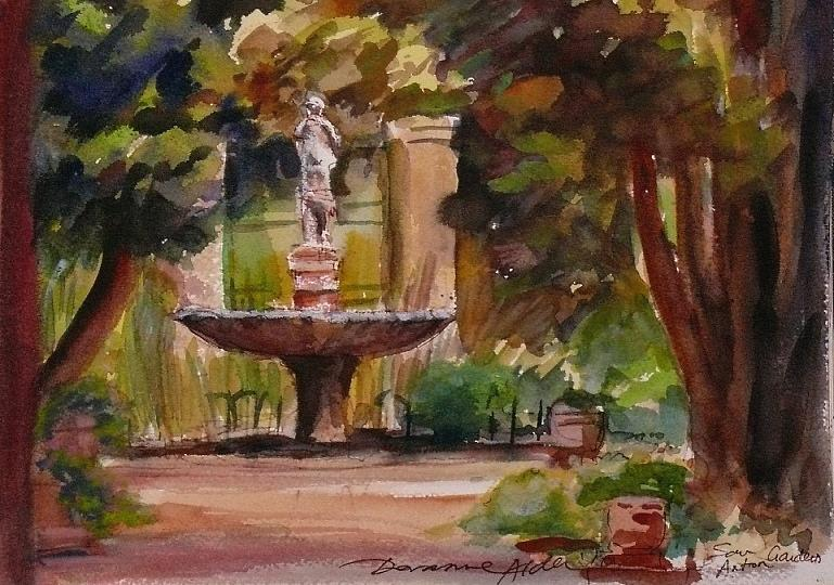 Watercolour Painting - San Anton Garden by Doranne Alden