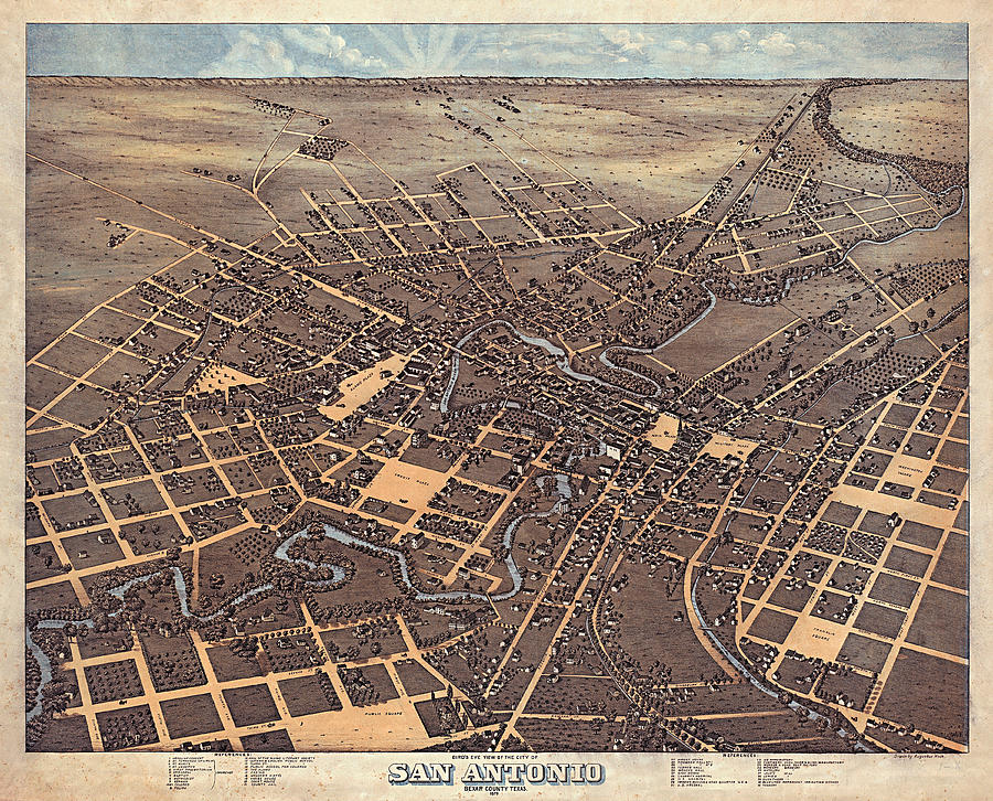 San Antonio 1873 by Augustus Koch by Texas Map Store
