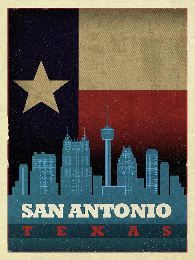 San Antonio Mixed Media - San Antonio City Skyline State Flag Of Texas Art Poster Series 022 by Design Turnpike