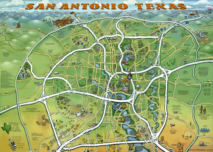 San Antonio Painting - San Antonio Texas Cartoon Map by Kevin Middleton