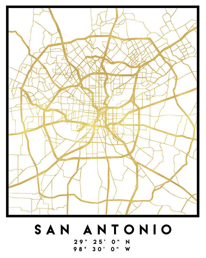 San Antonio Texas City Street Map Art