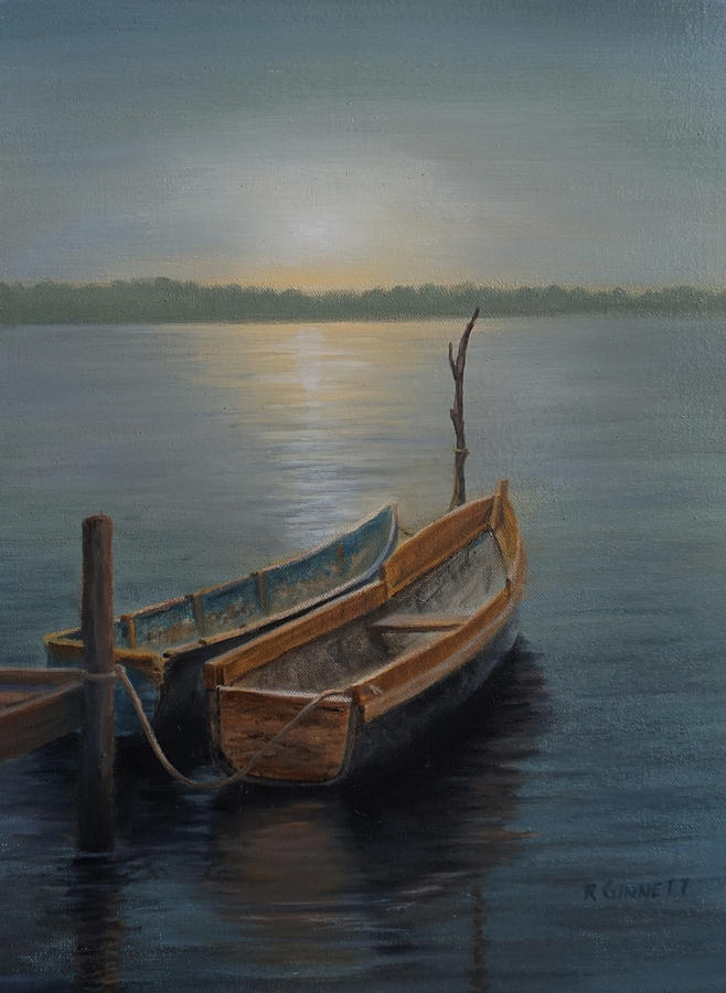 Boats Painting - San Blas Canoes by Richard Ginnett