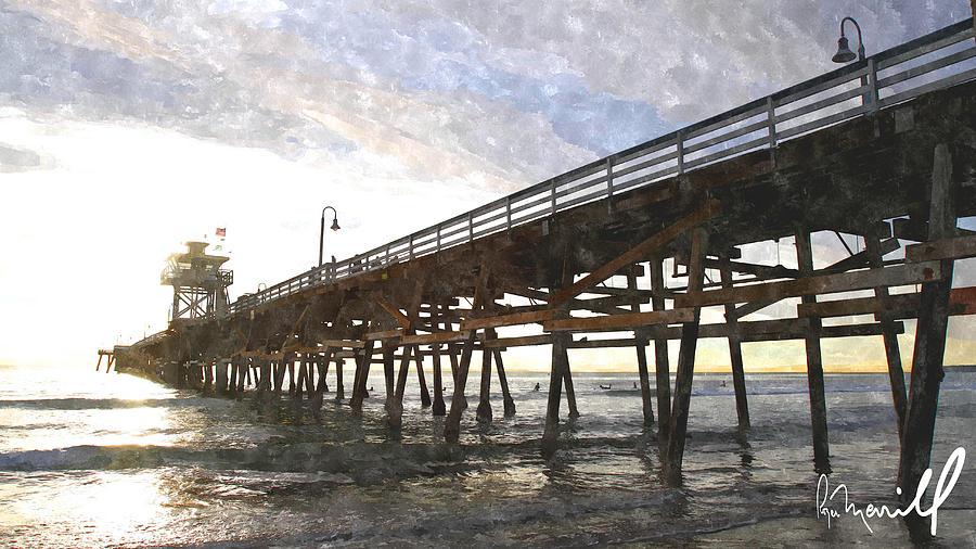 San Clemente Digital Art - San Clemente Pier Sunset by Roger Merrill