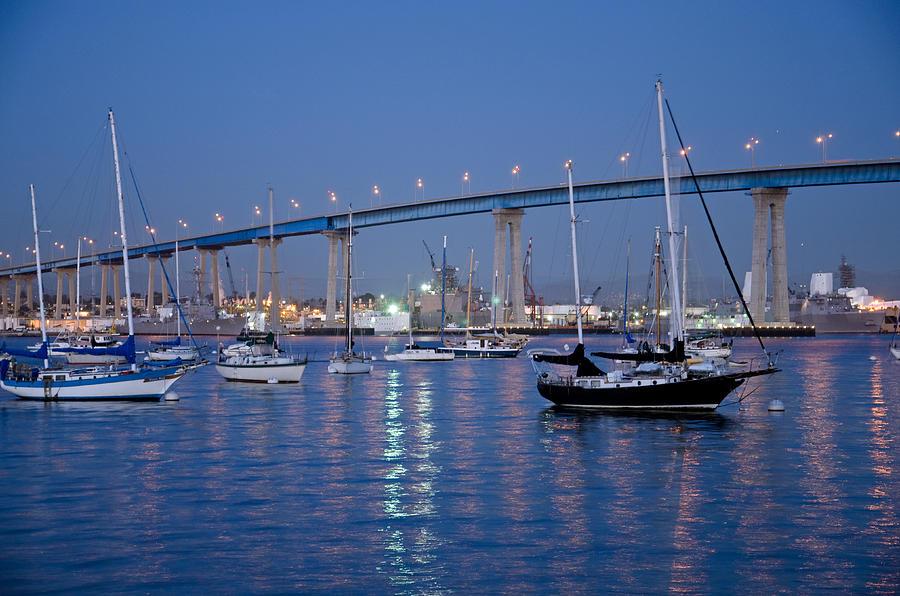 San Diego Photograph - San Diego Bay At Nightfall by Margaret Pitcher
