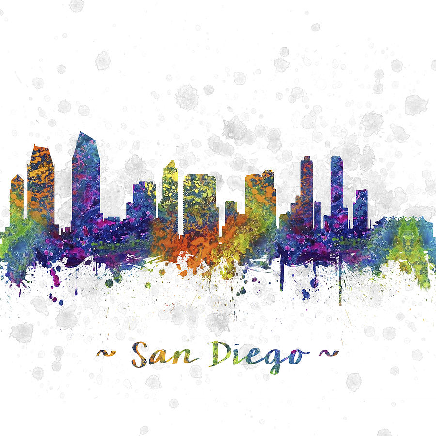 San Diego California Skyline Color 03sq Digital Art By