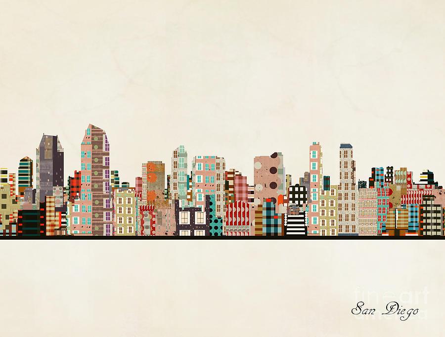 San Diego Painting - San Diego City Skyline by Bri Buckley