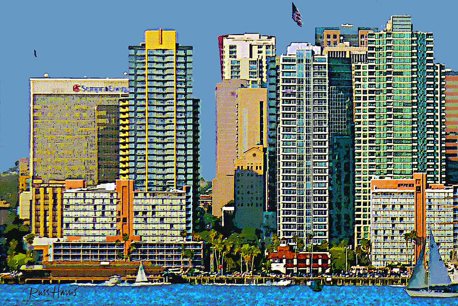 Watercolor Painting - San Diego Downtown Living - Bayside by Russ Harris