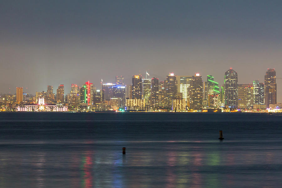 Long Exposure Photograph - San Diego from across the Bay by M C Hood