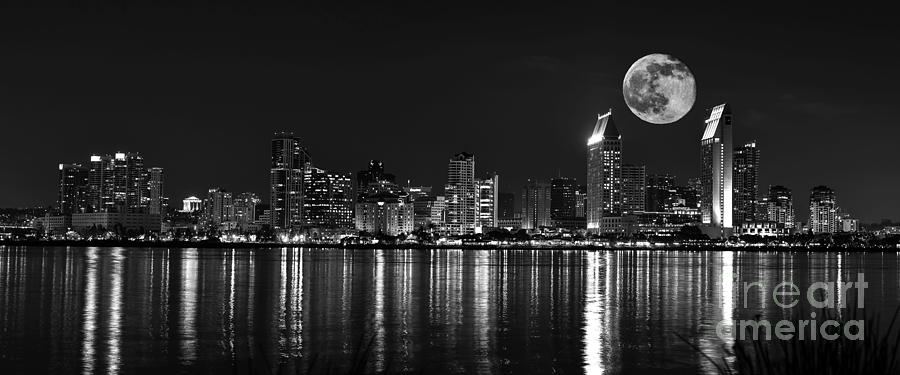 san diego photograph san diego full moon panorama by art k