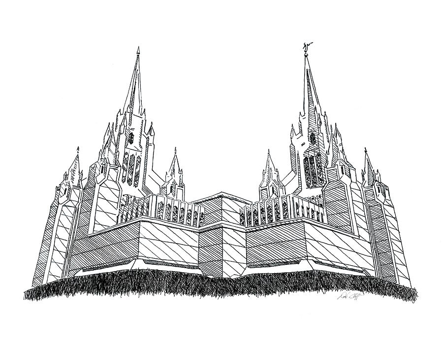 San Diego Lds Temple Drawing by DSC Arts