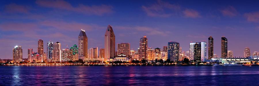 San Diego Skyline Photograph - San Diego Skyline At Dusk by Jon Holiday