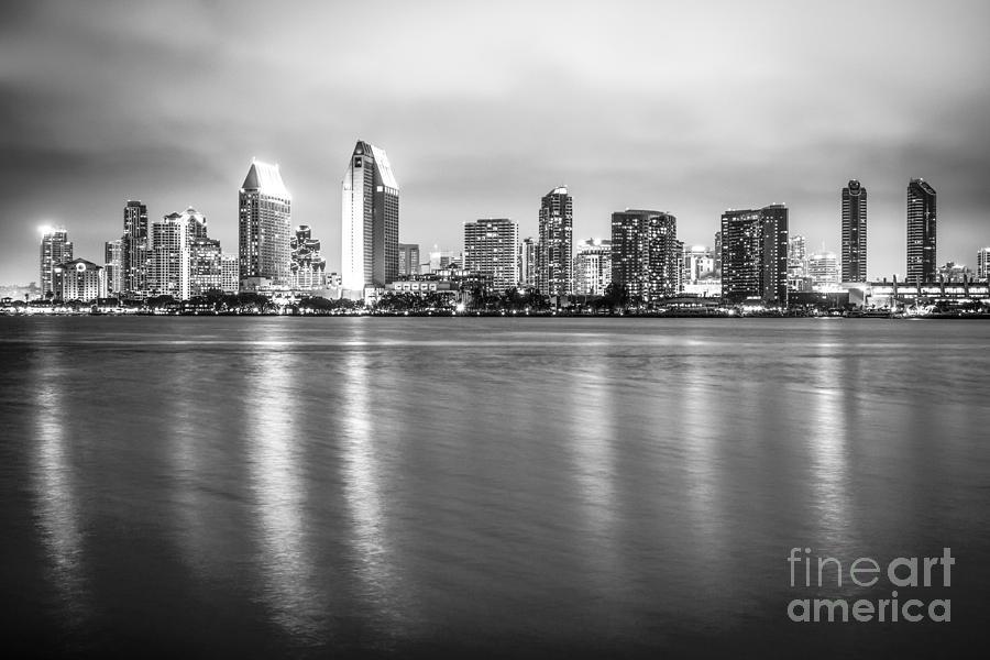 San Diego Skyline Black And White Photo Photograph