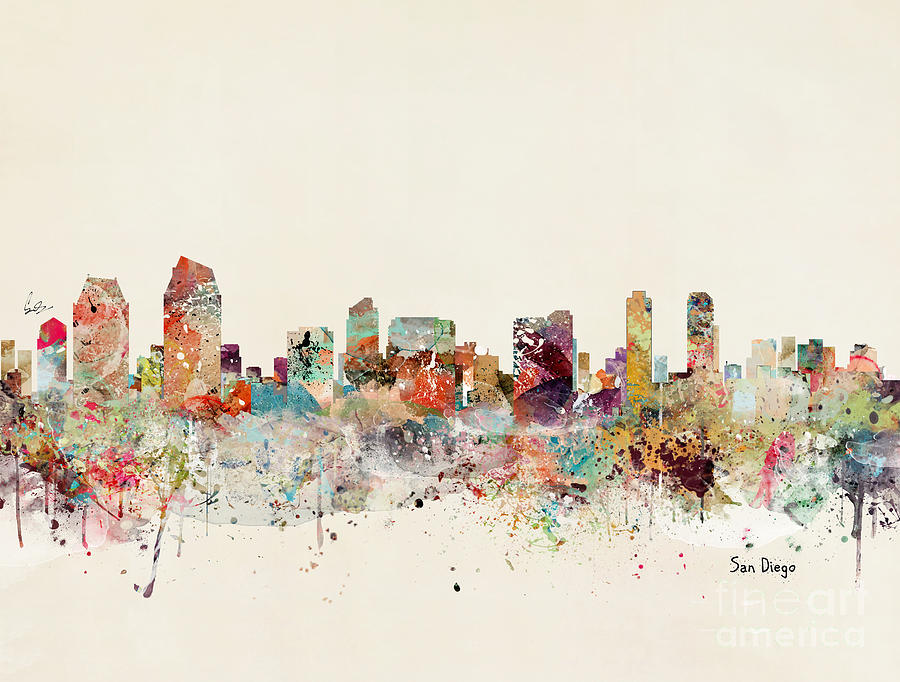 San Diego Painting - San Diego Skyline by Bri Buckley