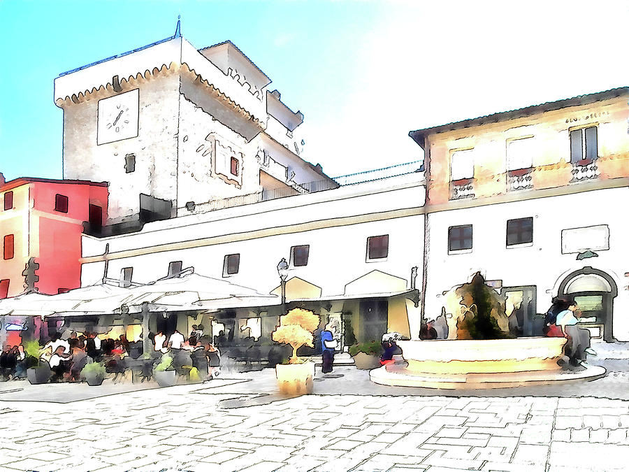 Italy Digital Art - San Felice Circeo Bar And Fountain In The  Square by Giuseppe Cocco
