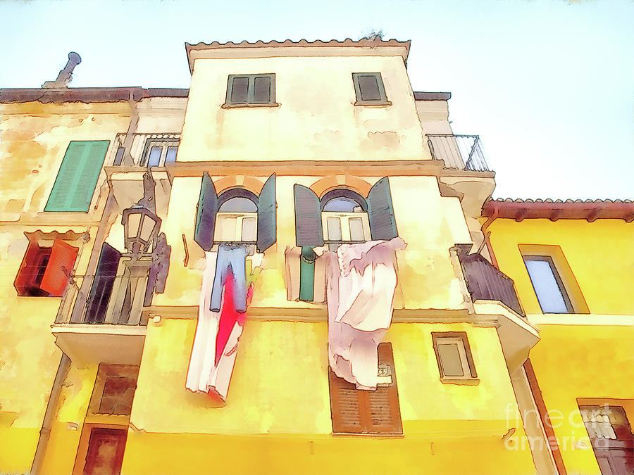 Italy Digital Art - San Felice Circeo Building With The Put Clothes by Giuseppe Cocco