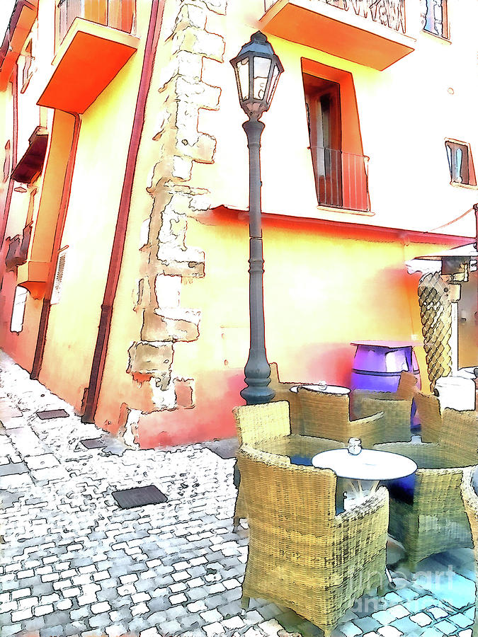 Italy Digital Art - San Felice Circeo Chairs And Street Lamp by Giuseppe Cocco