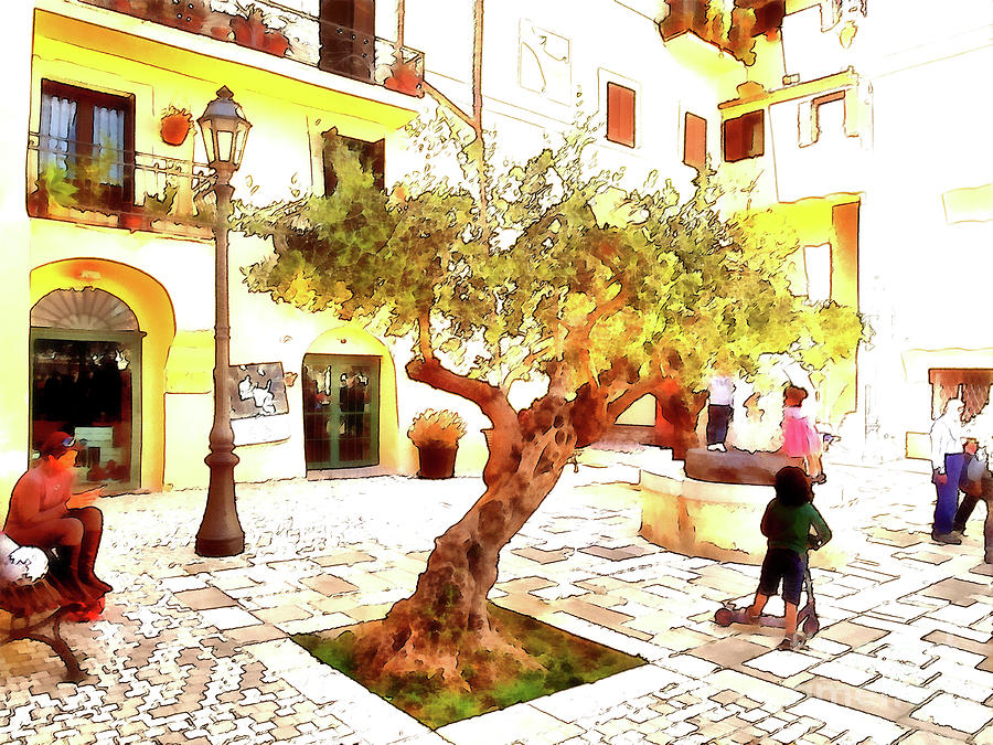 Italy Digital Art - San Felice Circeo Olive Tree In The Square by Giuseppe Cocco