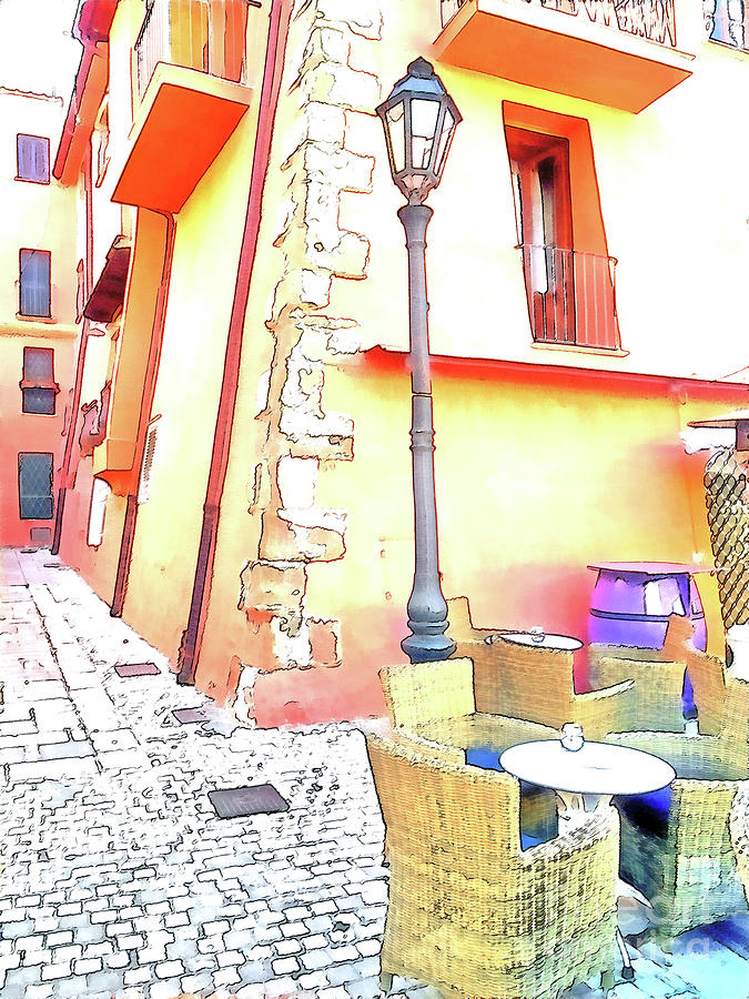 Italy Digital Art - San Felice Circeo Strret Lamp by Giuseppe Cocco