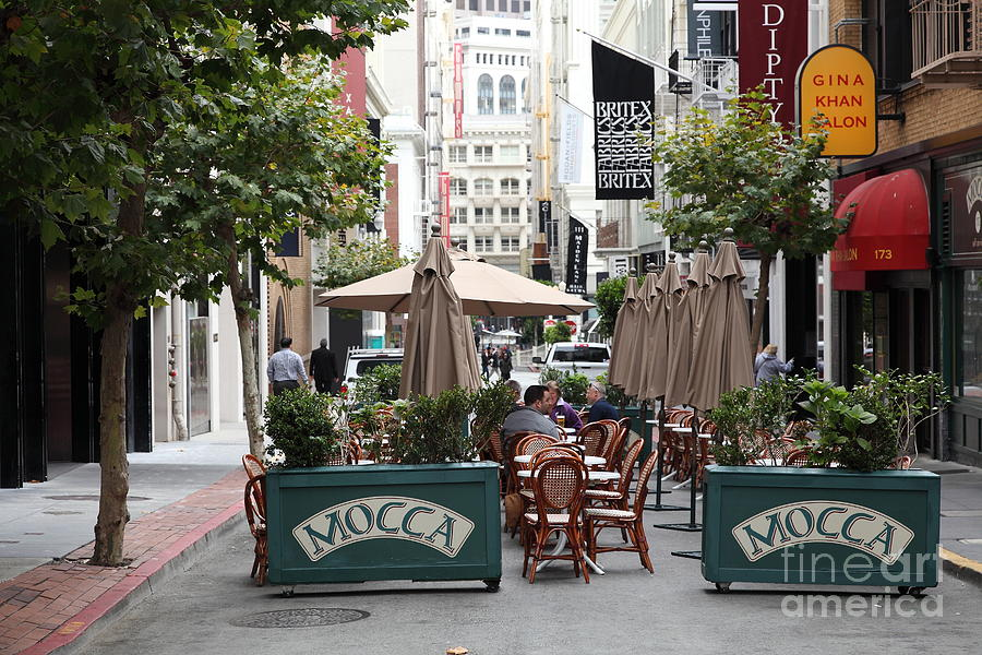 San Francisco Photograph - San Francisco - Maiden Lane - Outdoor Lunch At Mocca Cafe - 5d17932 by Wingsdomain Art and Photography