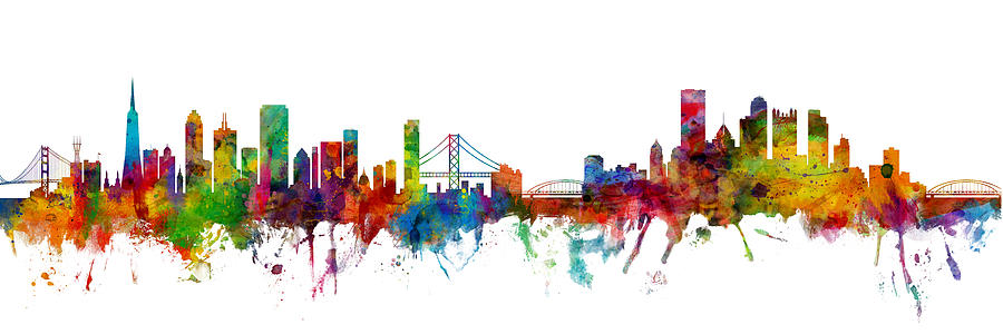 Pittsburgh Digital Art - San Francisco And Pittsburgh Skylines Mashup by Michael Tompsett