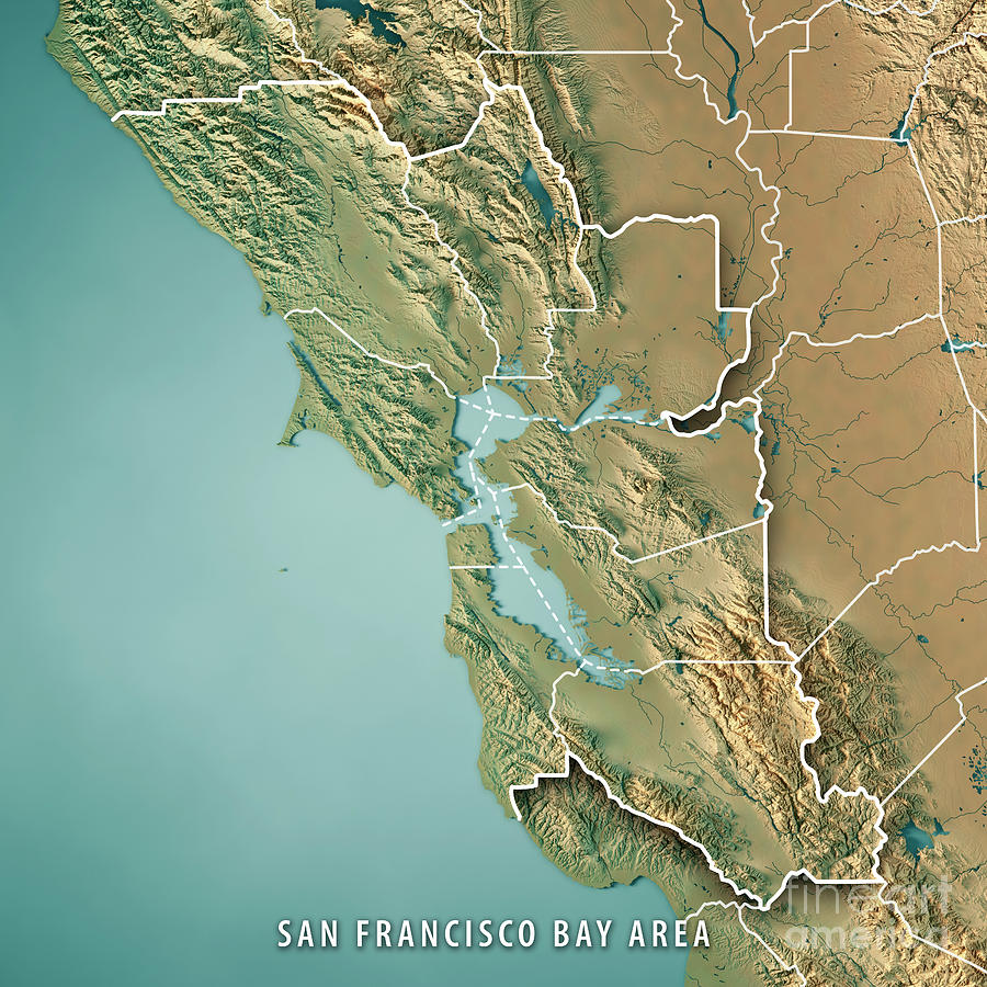 San Francisco Bay Area Usa 3d Render Topographic Map Border ... on