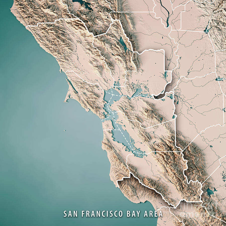 San Francisco Bay Area Usa 3d Render Topographic Map Neutral ... on