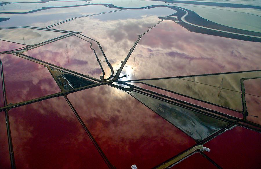 Aerial Landscape Photograph - San Francisco Bay Salt Flats 1 by Sylvan Adams