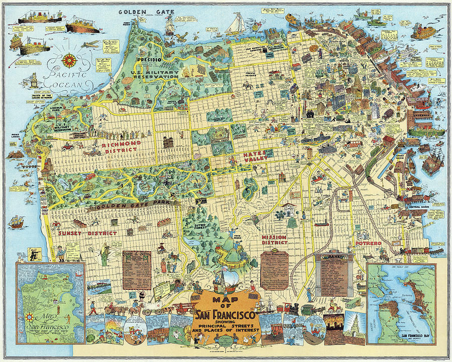 San Francisco Cartoon Map 1927 Photograph by Daniel Hagerman