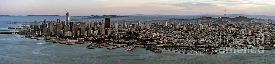 Aerial Photograph - San Francisco City Skyline Panorama At Sunset Aerial by David Oppenheimer