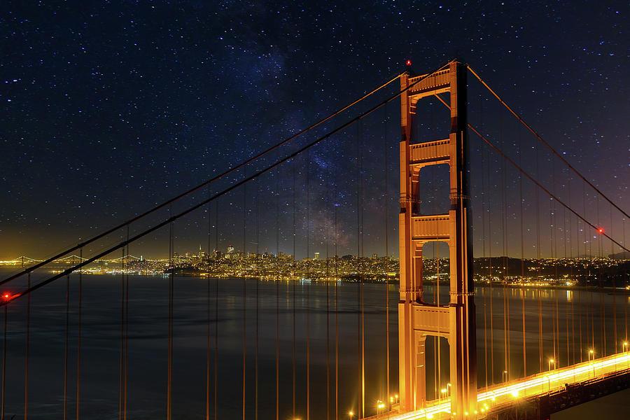 Golden Gate Photograph - San Francisco City Skyline Through Golden Gate Bridge by David Gn