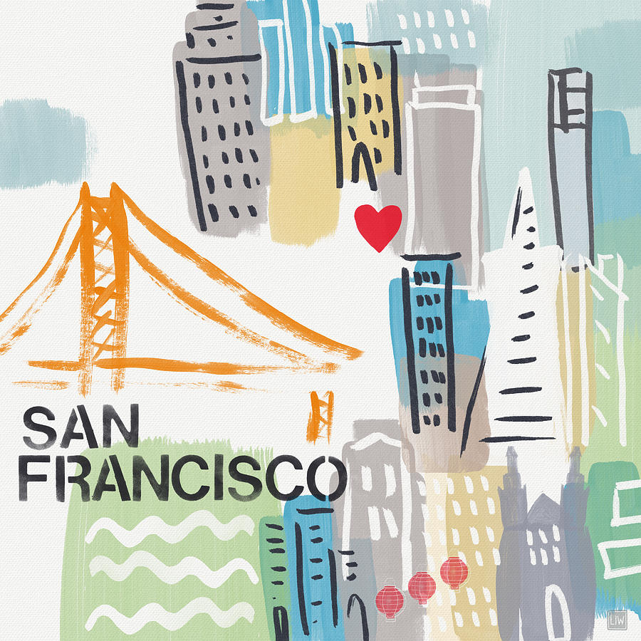 San Francisco Painting - San Francisco Cityscape- Art By Linda Woods by Linda Woods