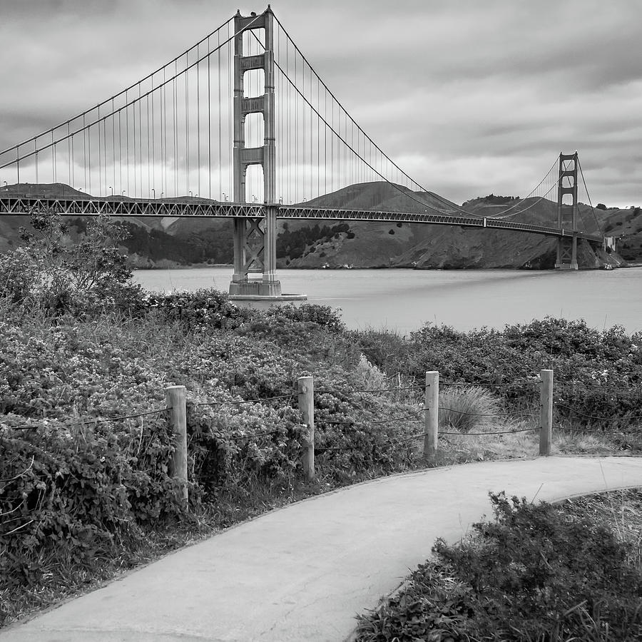 San Francisco Golden Gate Bridge Black And White Square Art