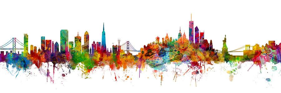 San Francisco Digital Art - San Francisco New York Skyline Mashup by Michael Tompsett