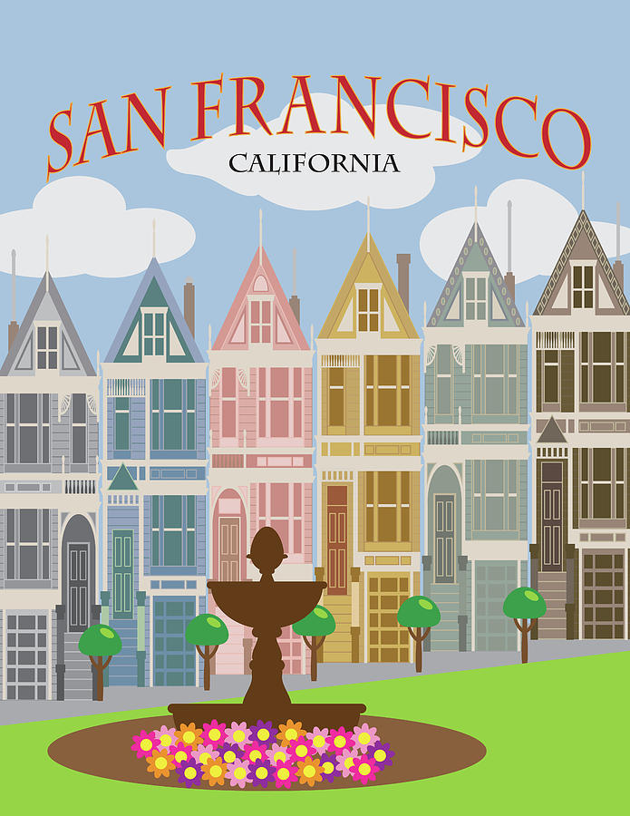 San Francisco Painted Ladies Poster Illustration by Jit Lim
