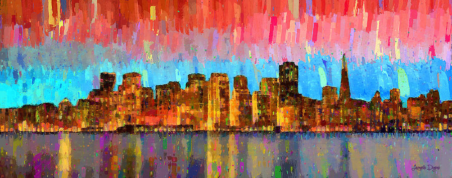San Francisco Painting - San Francisco Skyline 11 - Pa by Leonardo Digenio