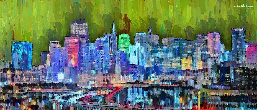 San Francisco Painting - San Francisco Skyline 115 - Pa by Leonardo Digenio