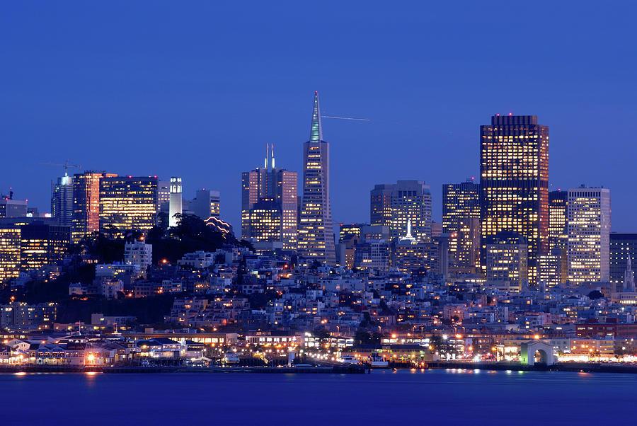 Horizontal Photograph - San Francisco Skyline At Dusk by David Rout