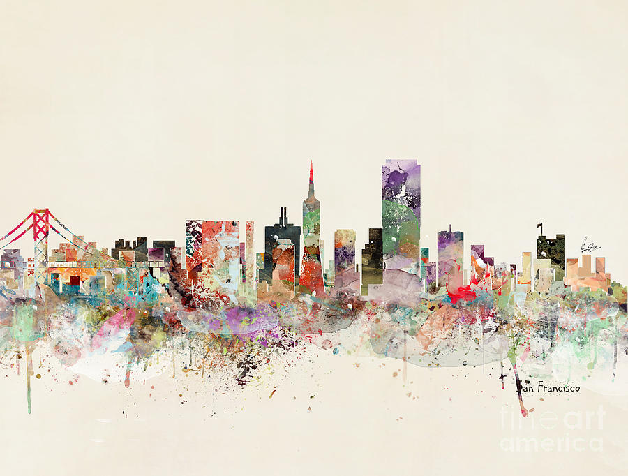 San Francisco Skyline Painting - San Francisco Skyline by Bri Buckley